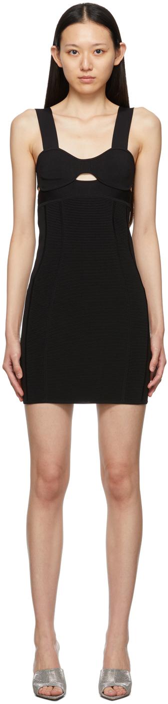 Herve Leger Black Mini Strappy Bra Dress