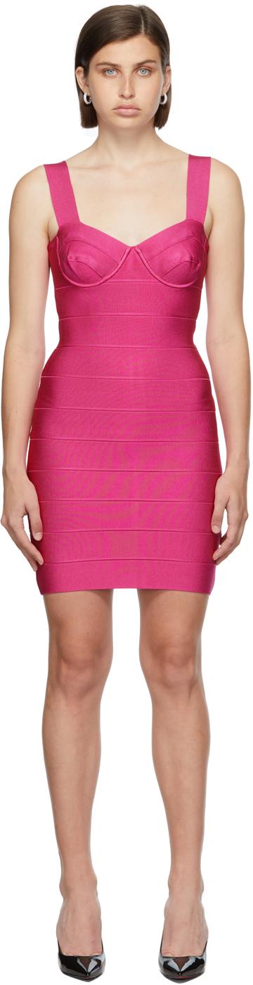 Herve Leger Pink Bandage Bra Cup Dress
