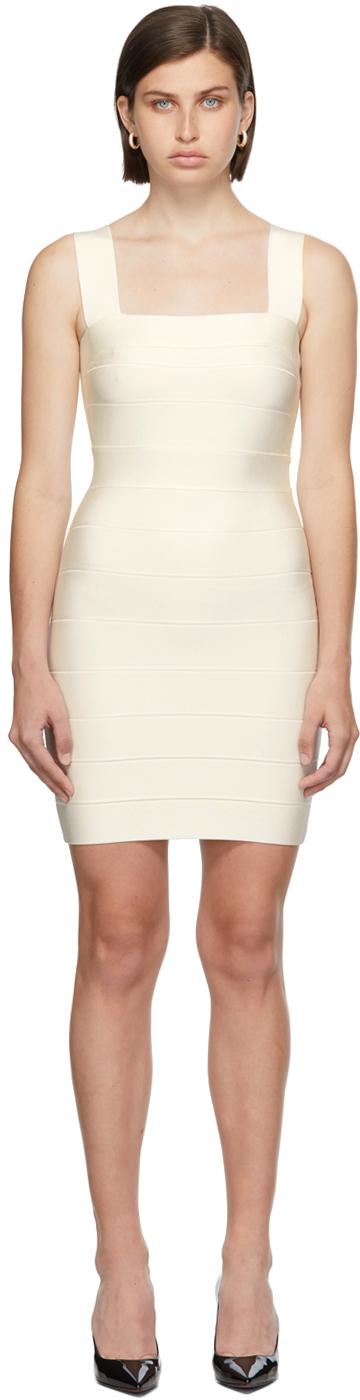 Herve Leger White Square Neck Strappy Icon Dress