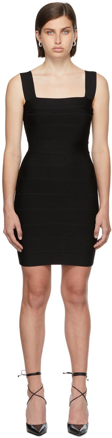 Herve Leger Black Square Neck Strappy Icon Dress