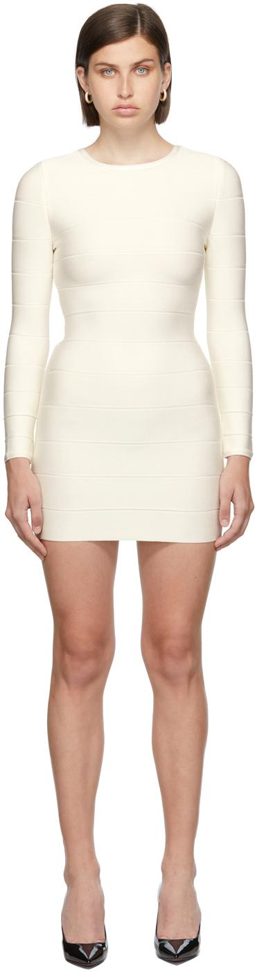 Herve Leger White Crewneck Icon Dress