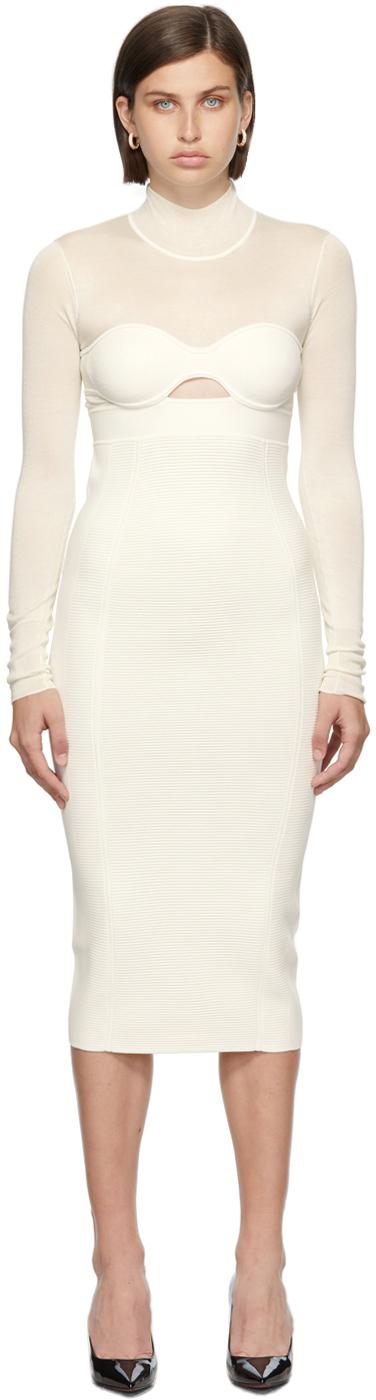 Herve Leger White Long Sleeve Corset Dress