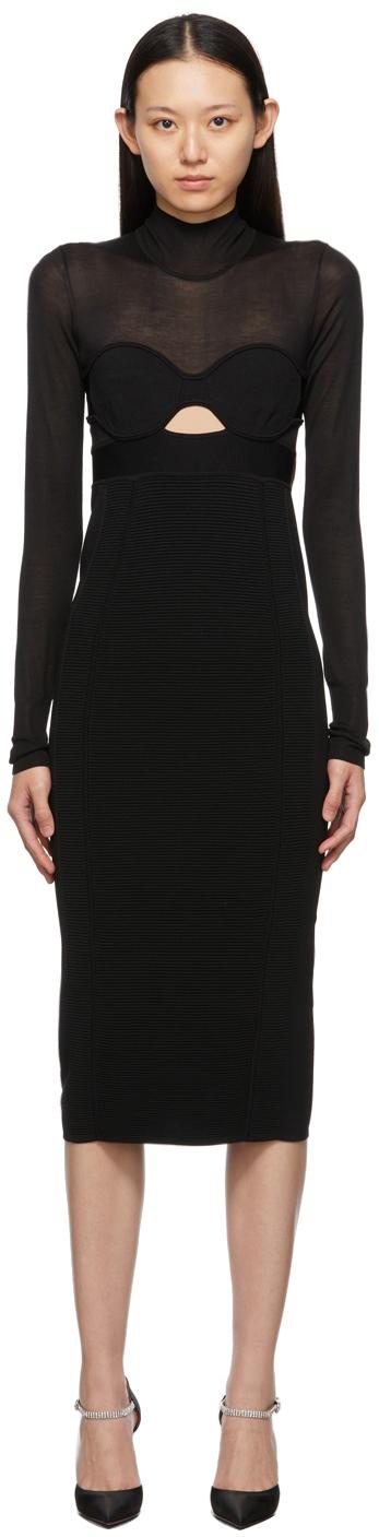 Herve Leger Black Corset Long Sleeve Dress
