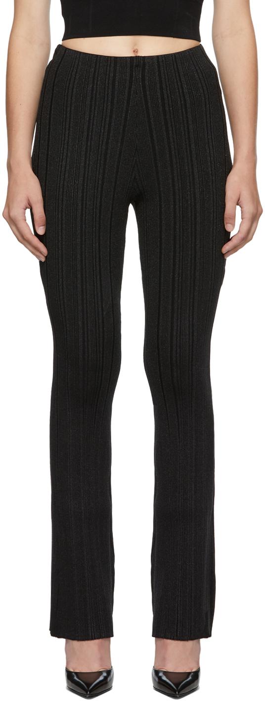 Herve Leger Black Lurex Variegated Rib Trousers