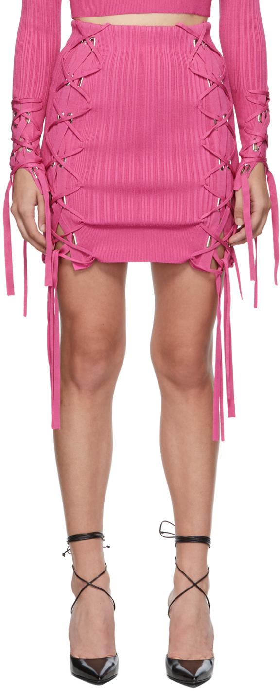 Herve Leger Pink Variegated Rib Lace Miniskirt