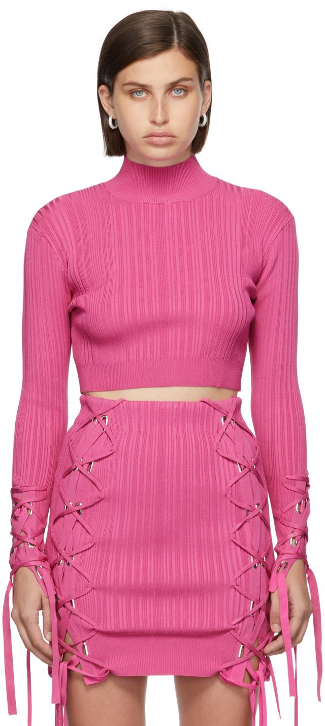 Herve Leger Pink Variegated Rib Lace Crop Turtleneck