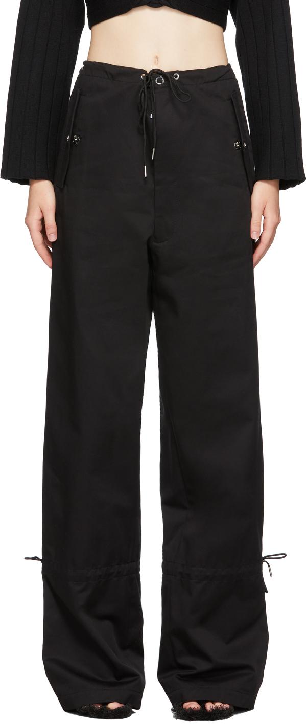 Black Eyelet Tie Parachute Trousers