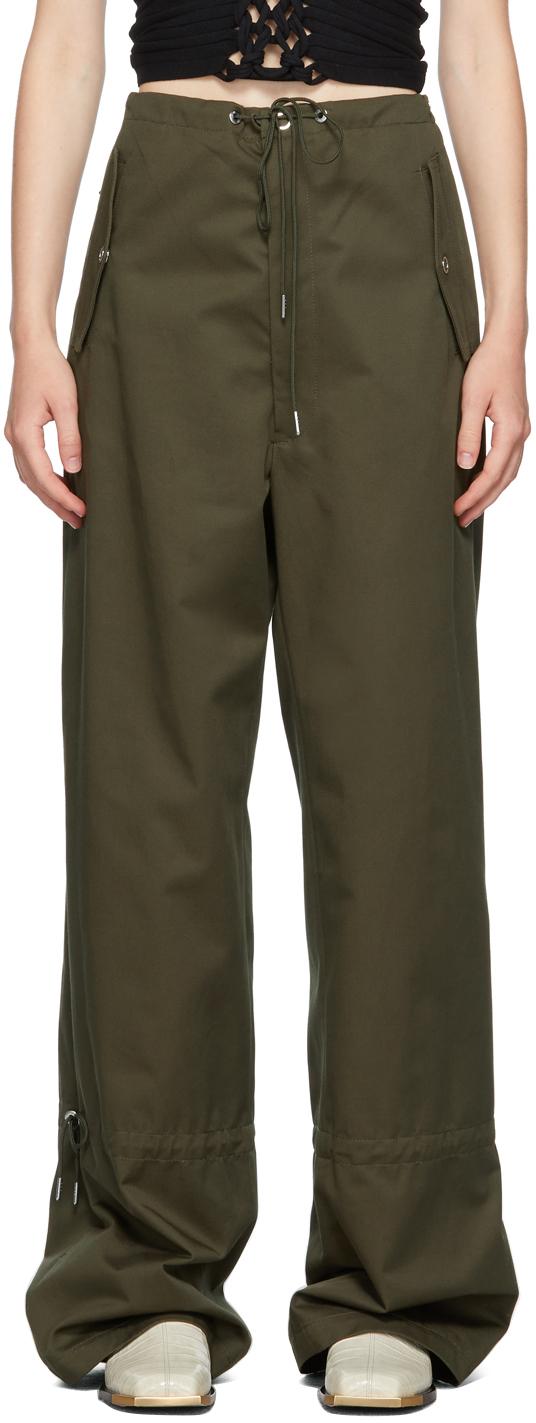 Khaki Eyelet Tie Parachute Trousers