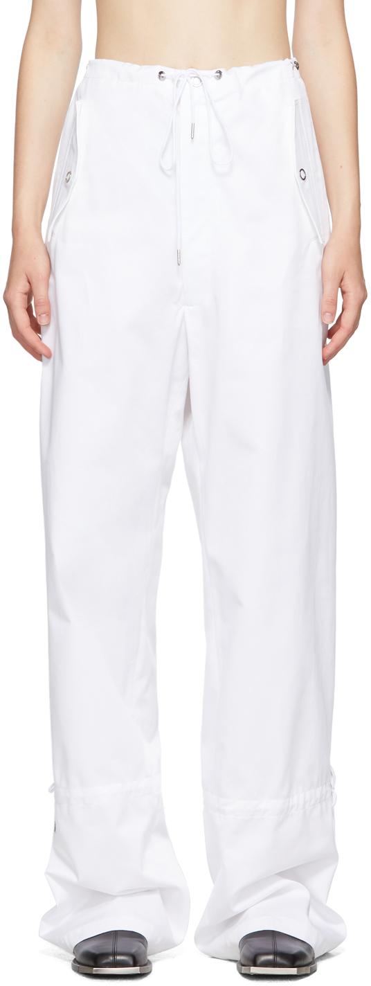 White Eyelet Tie Parachute Trousers