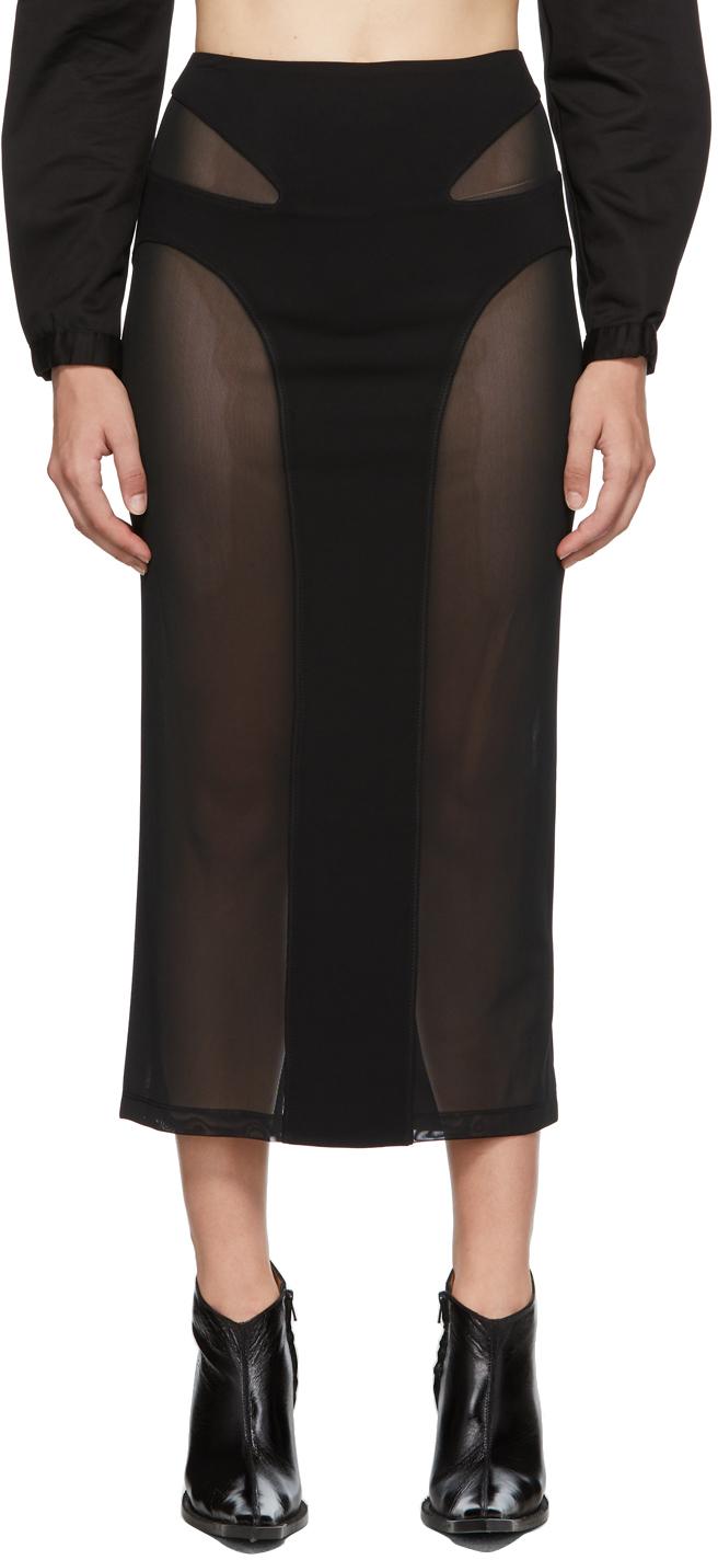 Black Mesh Contour Skirt