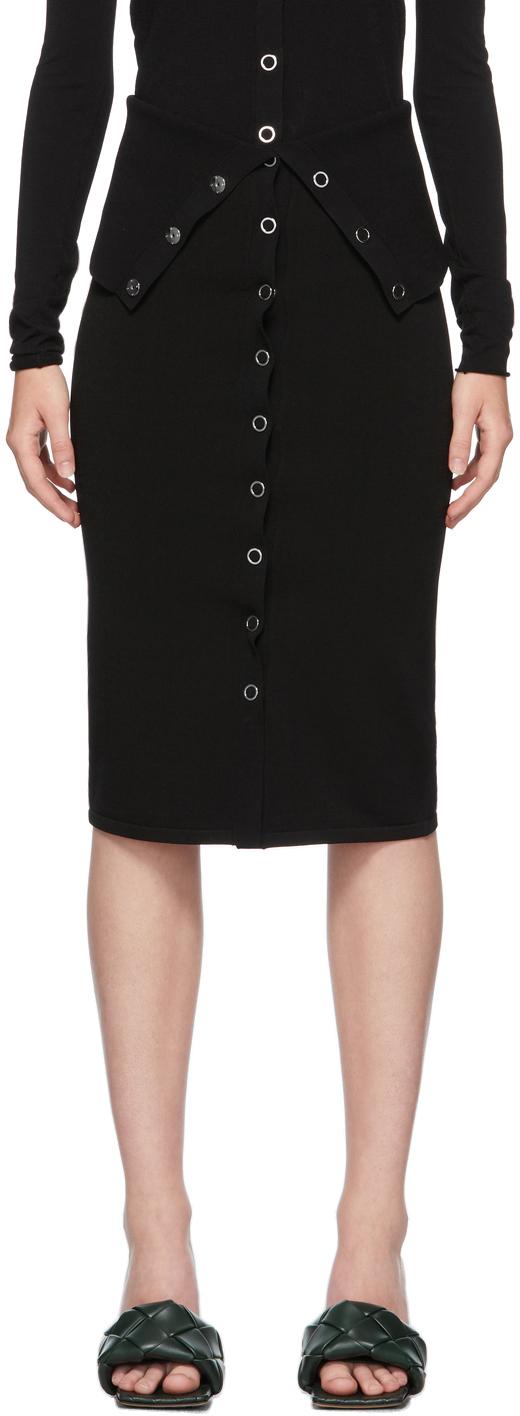 Black Hosiery Placket Skirt