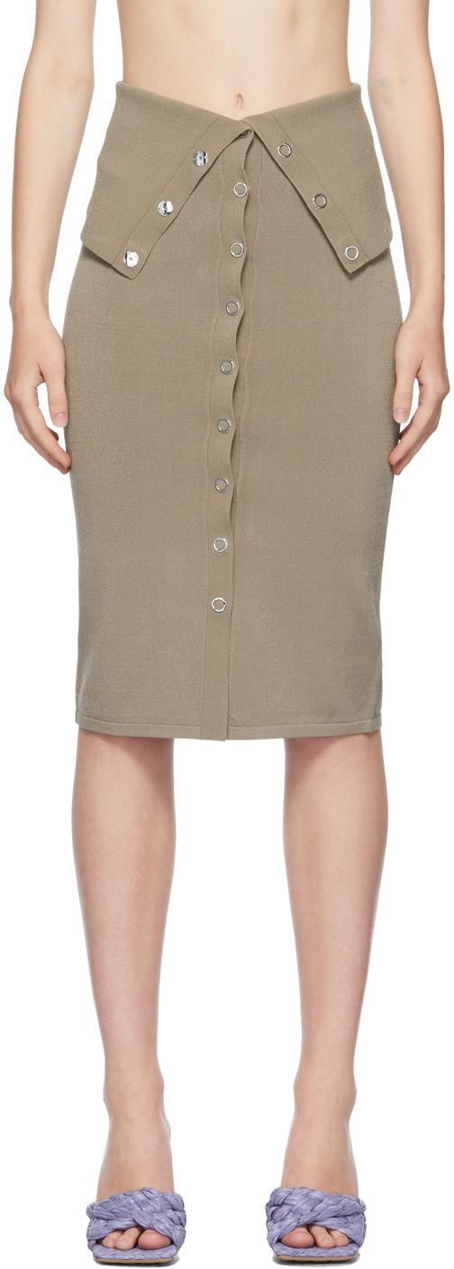 Taupe Hosiery Placket Skirt