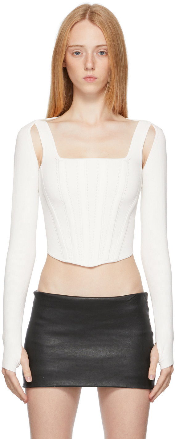 White Pointelle Long Sleeve Corset & Cardigan