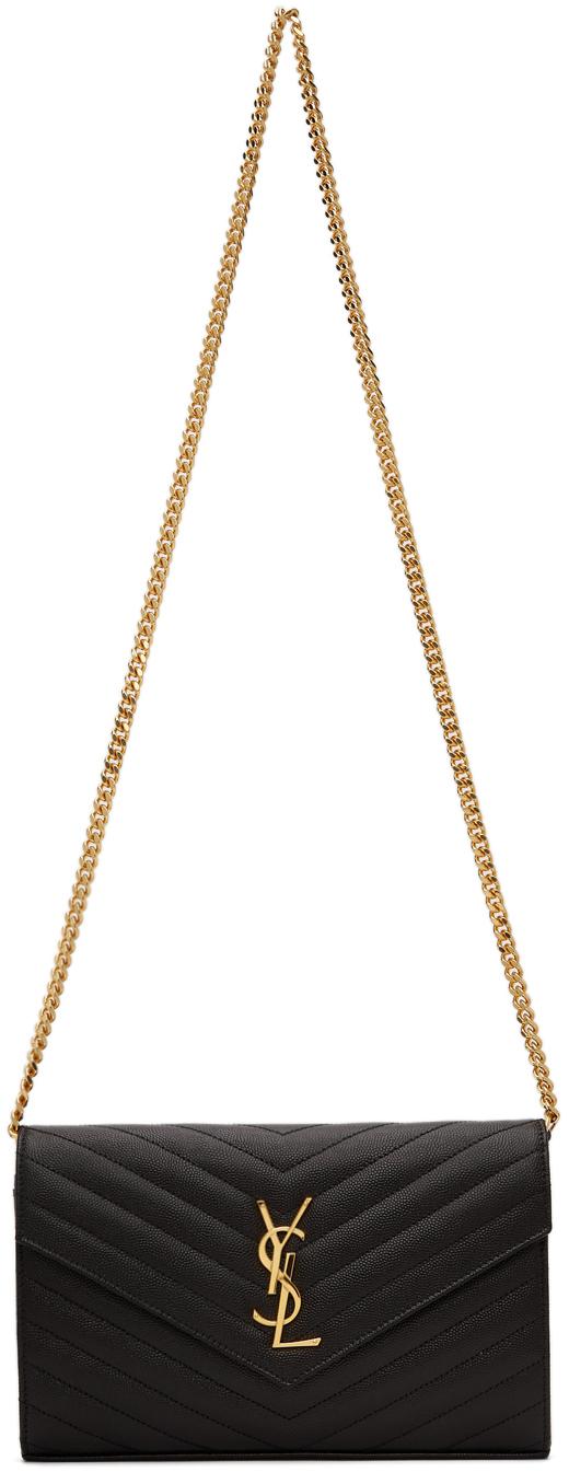 Leather Monogram Chain Wallet Bag