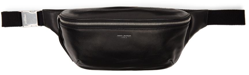 Black Leather Classic Belt Bag