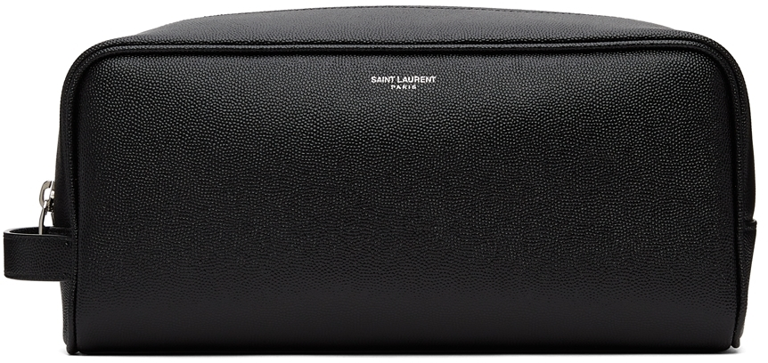 Black Grained Logo Grooming Case Pouch