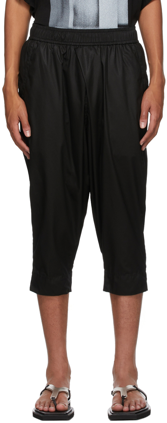 Black Tucked Cropped Trousers