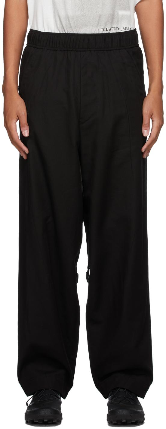 Black Strap Wide-Leg Trousers
