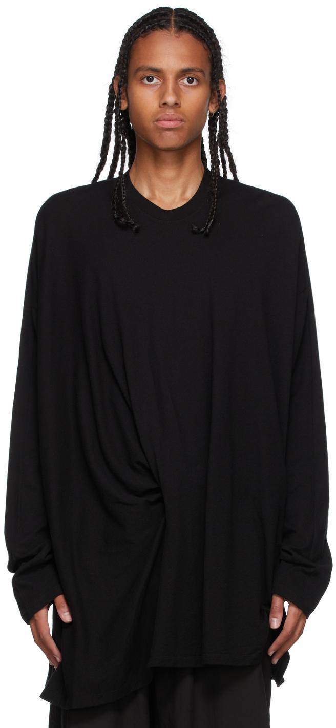 Black Tucked Long Sleeve T-Shirt