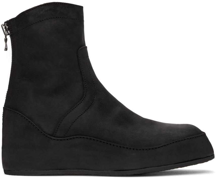 Black Nubuck In-Heel Boots