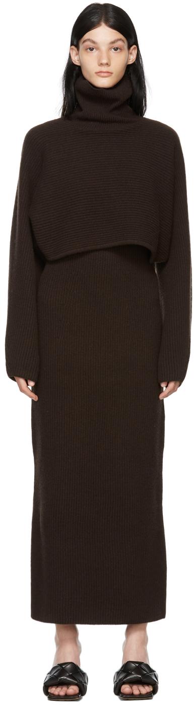 Brown Wool Turtleneck & Dress Set
