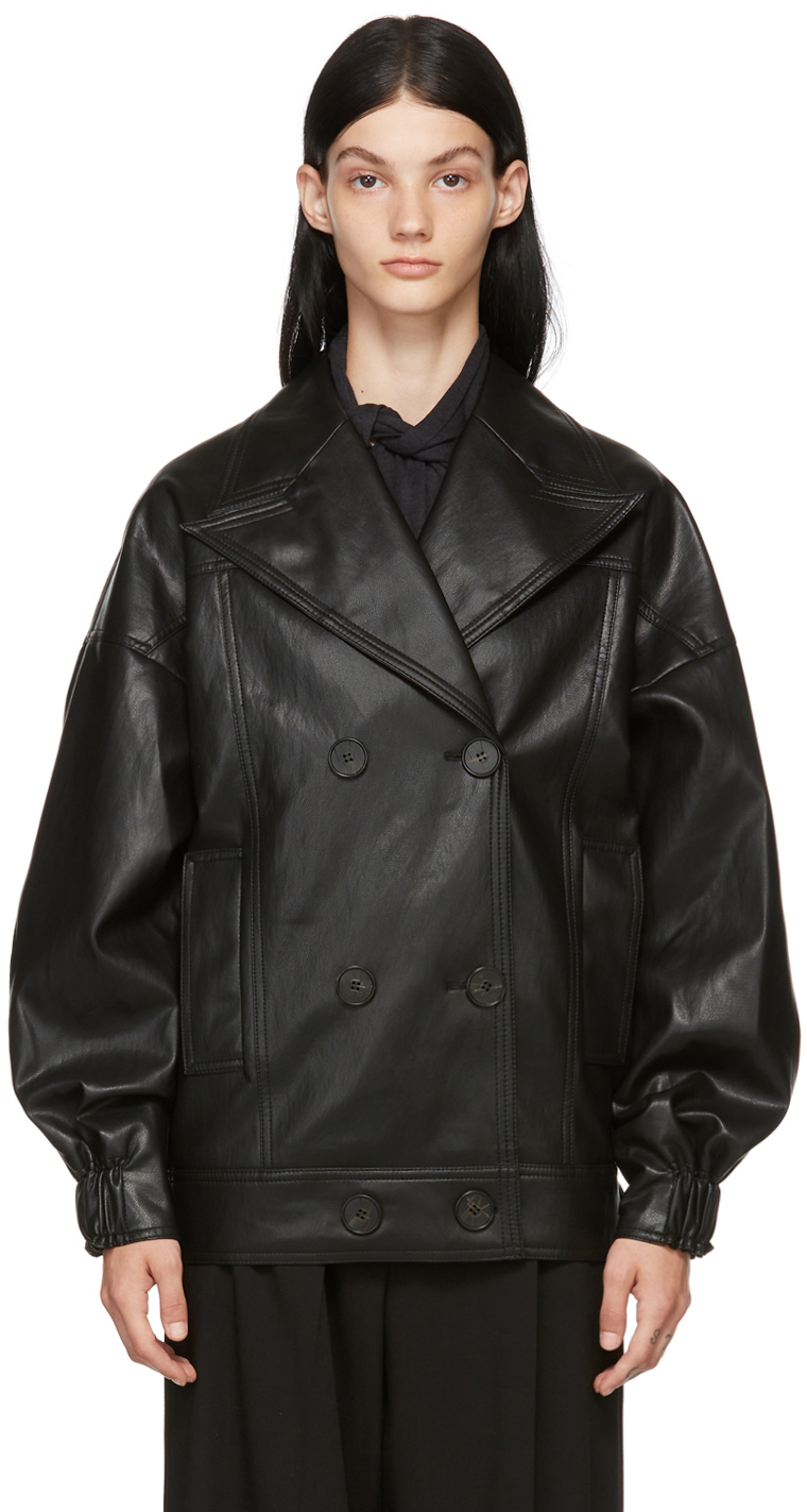 Black Double-Breasted Faux-Leather Jacket