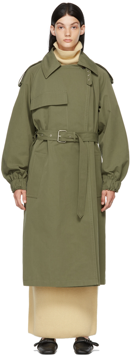 Khaki Banding Belted Trench Coat