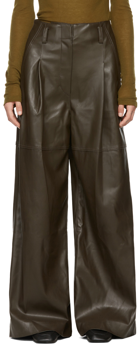Brown Faux Leather One-Tuck Trousers