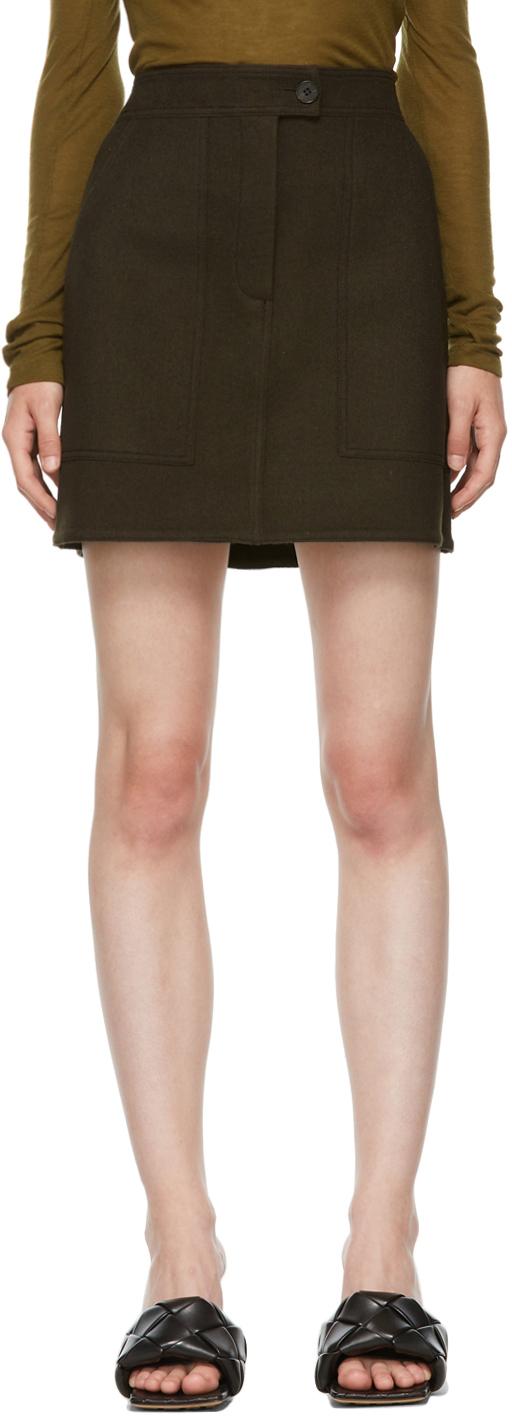 Brown Wool Miniskirt