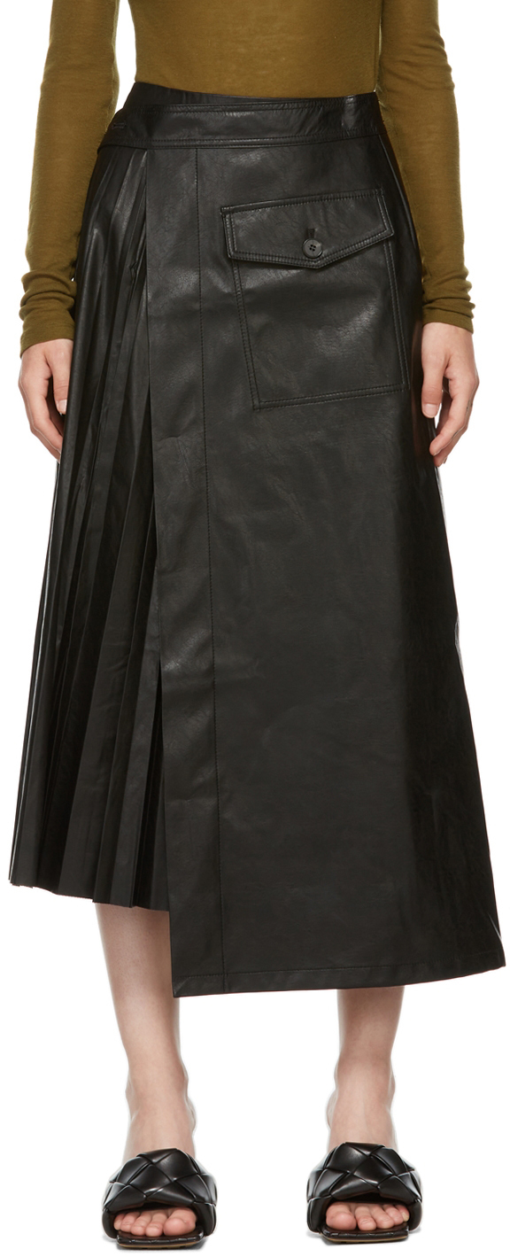Black Faux Leather Pleated Wrap Skirt