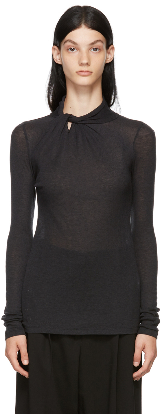 Black Knotted Collar Sweater