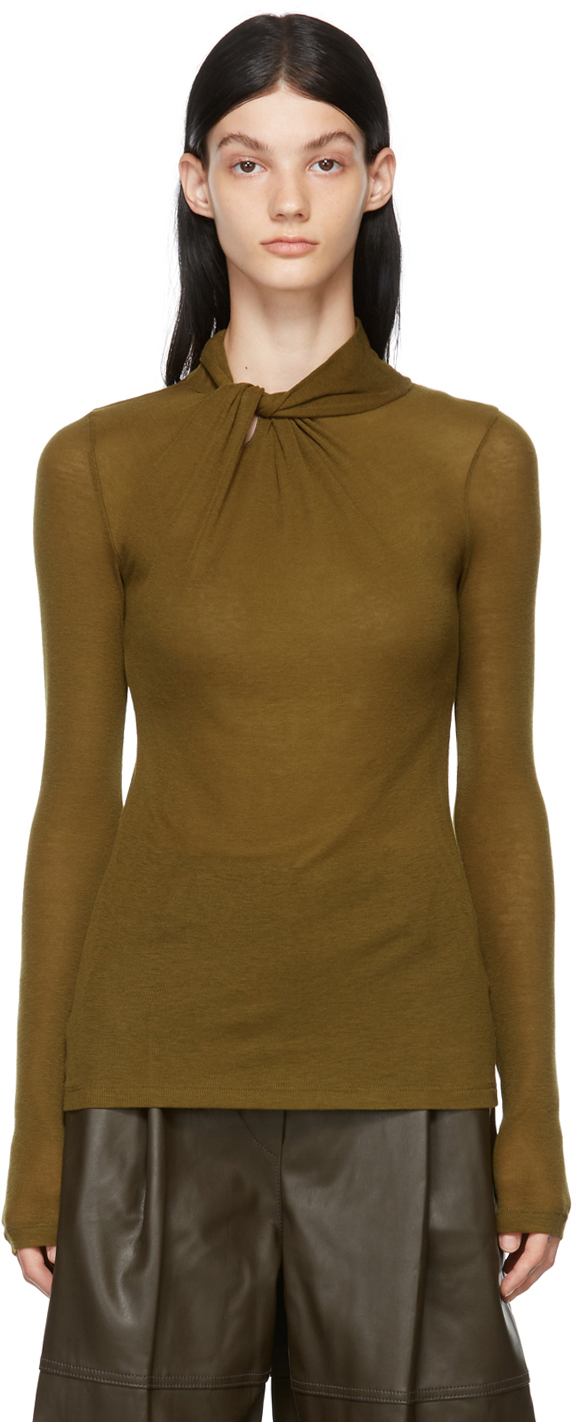 Khaki Knotted Collar Sweater