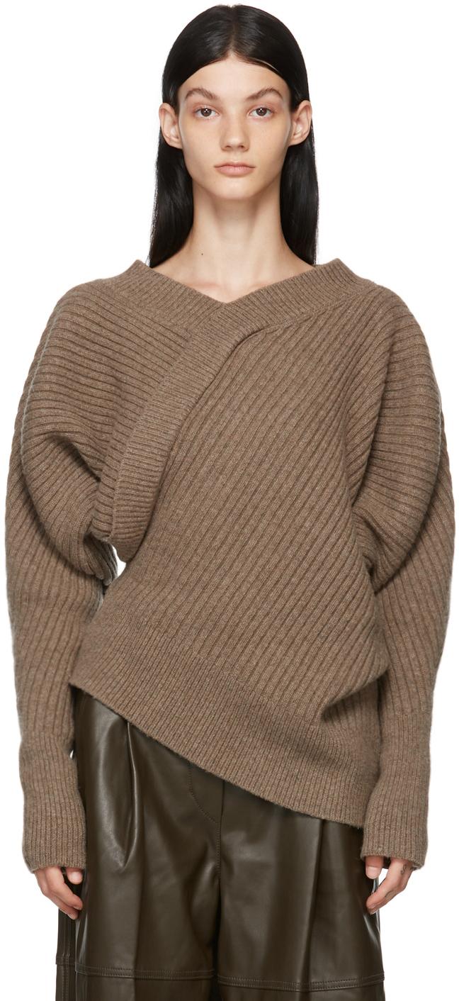 Brown Wool Unbalance Sweater