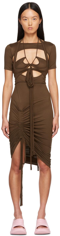 SSENSE Exclusive Brown Macrame Dress