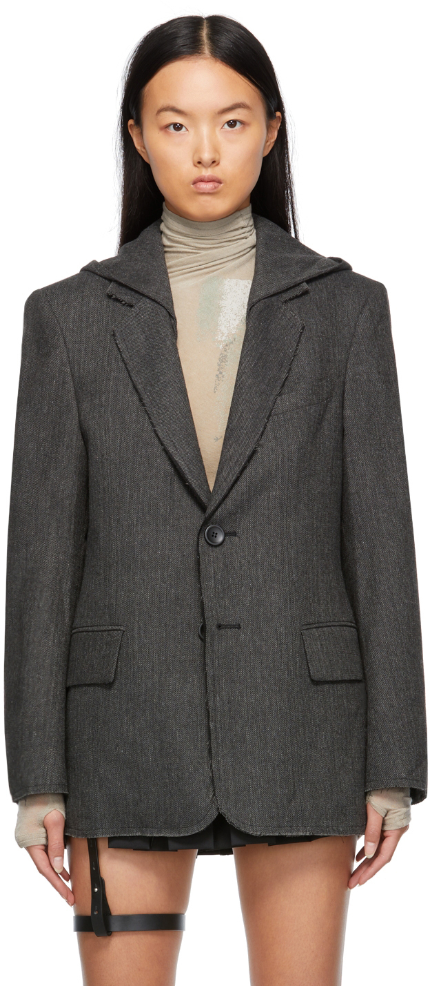 Grey Hooded Tailored Blazer