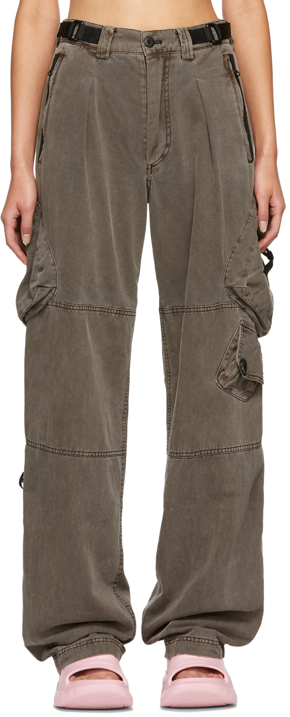 Brown Belted Military Cargo Trousers