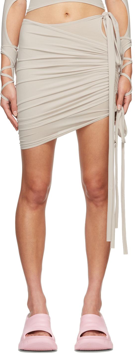 Beige Lotus Shirring Miniskirt