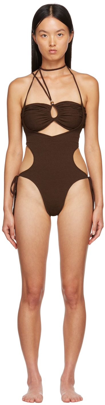 SSENSE Exclusive Brown One-Piece Swimsuit