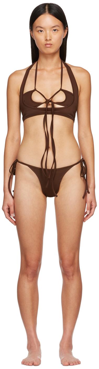 SSENSE Exclusive Brown Macrame Bikini
