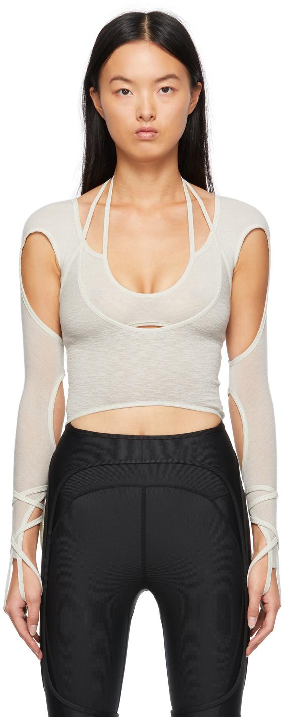 Beige Halter Long Sleeve T-Shirt