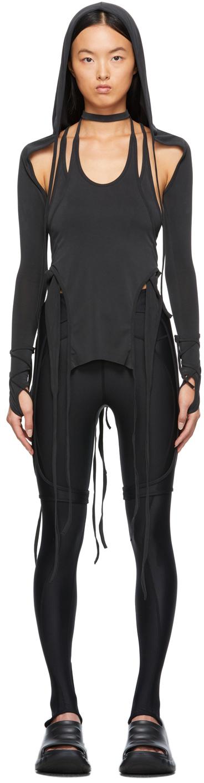 Black Layered Halter Hooded Long Sleeve T-Shirt