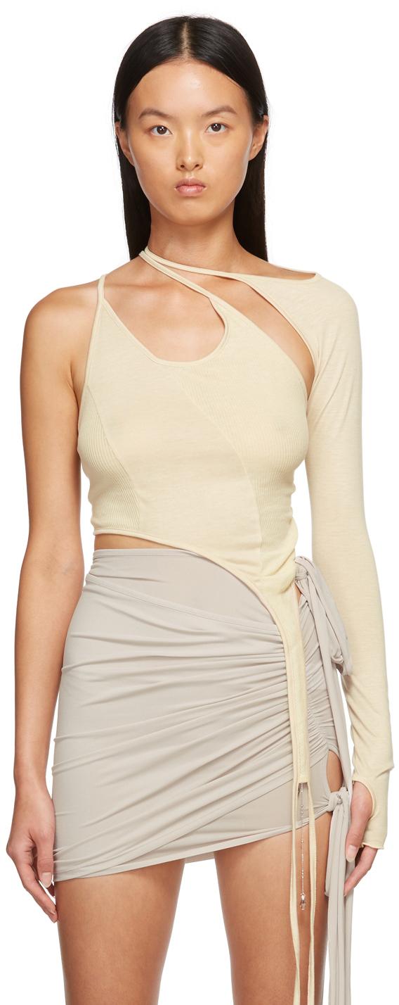 SSENSE Exclusive Beige Single-Sleeve T-Shirt