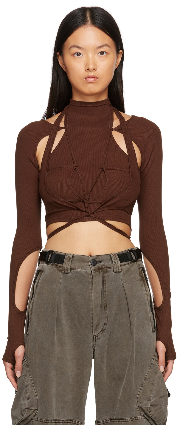 SSENSE Exclusive Brown Asymmetric Cut-Out Long Sleeve T-Shirt