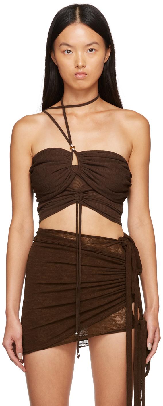 SSENSE Exclusive Brown Shirring Tank Top