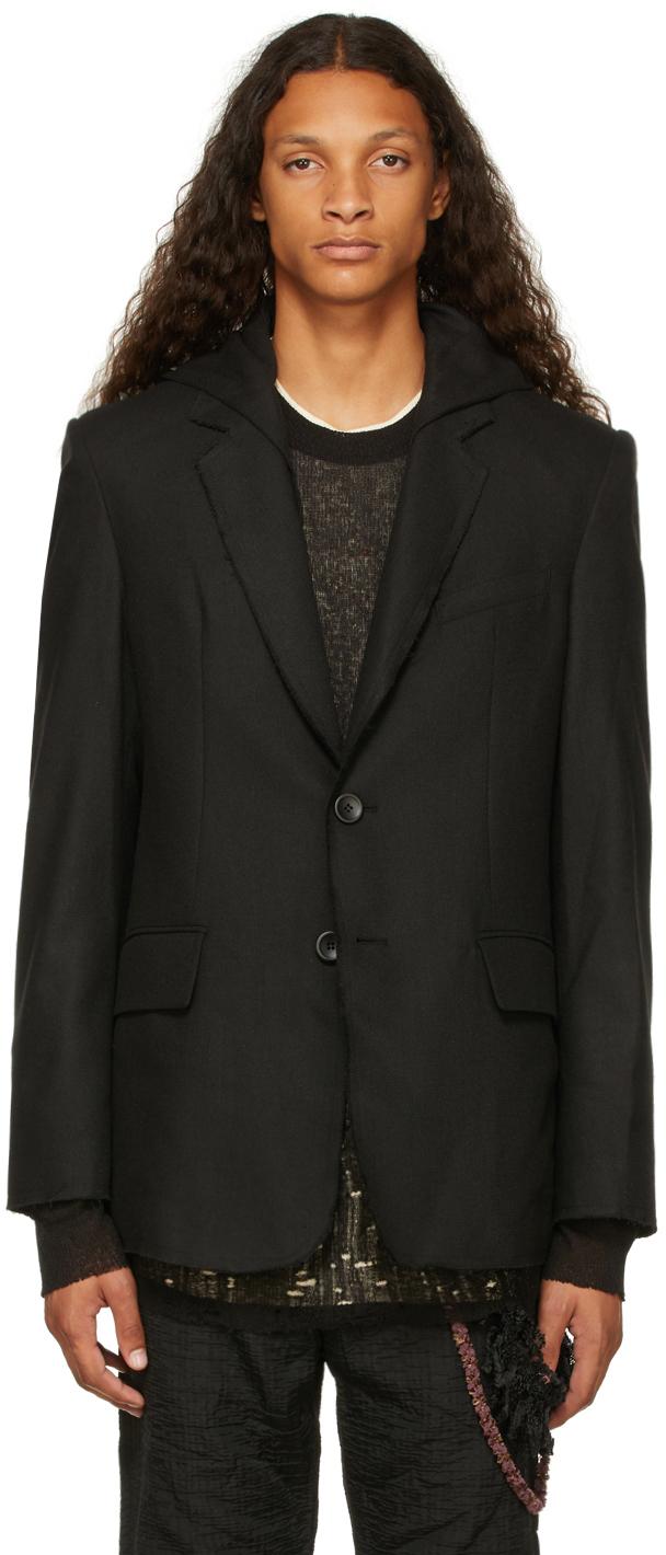 Black Wool Hooded Blazer