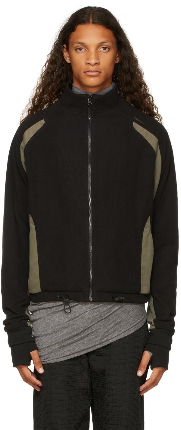 Black & Grey Fleece Zip-Up Sweater