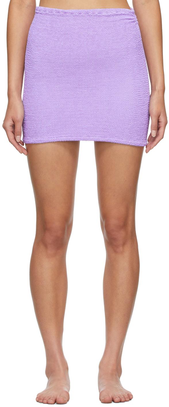Purple Shirred Miniskirt