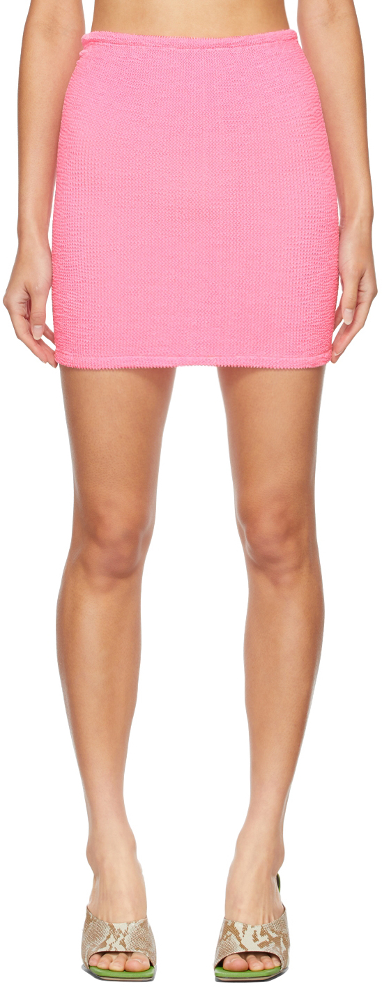 Pink Shirred Miniskirt