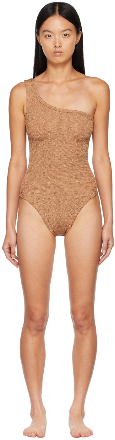 Brown Nancy One-Shoulder One-Piece Swimsuit