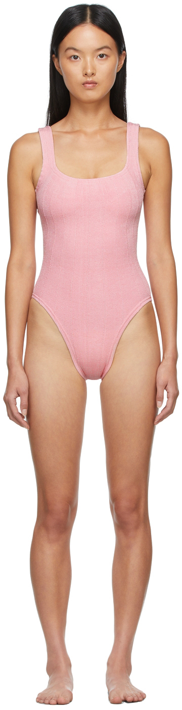 Pink Square Neck Nile One-Piece Swimsuit